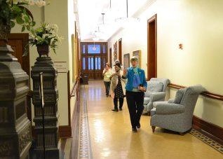 Sister Mary Montgomery and Providence Associate Elizabeth Barkley lead the procession to the shrine.